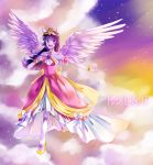 1girl :d animal_ears bangs bare_shoulders blunt_bangs character_name choker clouds collarbone colorful detached_sleeves dress feathered_wings full_body gown horn long_hair my_little_pony my_little_pony_friendship_is_magic open_mouth outstretched_hand personification pink_dress princess purple_hair purple_skin shiron2611 smile solo spoilers twilight_sparkle wings