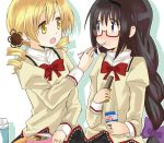 2girls akemi_homura bentou black_eyes black_hair blonde_hair braid chopsticks eating feeding glasses lowres mahou_shoujo_madoka_magica milk multiple_girls myama school_uniform tomoe_mami yellow_eyes