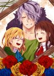 1boy 2girls blonde_hair blue_rose brown_hair closed_eyes collarbone dress flower garry_(ib) hair_over_one_eye highres ib ib_(ib) mary_(ib) multiple_girls picture_frame pietani_397 purple_hair red_rose rose trench_coat yellow_rose