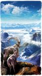 1boy 1girl aalge clouds goat highres horn landscape mountain nature original scenery sky