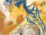 00maruo 1boy armlet armor bangle blue_hair bracelet cape crown fate/stay_night fate_(series) gem jewelry lancer long_hair ponytail red_eyes