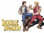 2boys 80s angry armband billy_lee blonde_hair boots brothers brown_hair double_dragon duel highres jimmy_lee logo manly martial_arts mullet multiple_boys muscle official_art oldschool promotional_art siblings spiky_hair training vest video_game