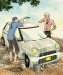 2boys archer barefoot blue_hair car carwash casual fate/hollow_ataraxia fate_(series) hose lancer motor_vehicle multiple_boys sa-n-o-zi vehicle wet wet_clothes white_hair