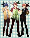 3boys angel_beats! antenna_hair apron baseball baseball_bat baseball_mitt blue_eyes blue_hair brown_eyes brown_hair cigarette clannad company_connection crossover furukawa_akio highres hinata_(angel_beats!) jamijami key_(company) little_busters! male multiple_boys natsume_kyousuke red_eyes school_uniform short_hair