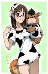 1girl animal_ears azazel brown_hair cosplay cow cow_horns cow_print flat_chest glasses highres horns kakkii lingerie moloch sakuma_rinko underwear yondemasuyo_azazel-san