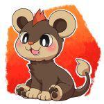 blush brown_eyes cub fangs highres huiro litleo no_humans paws pokemon pokemon_(creature) pokemon_(game) solo tail