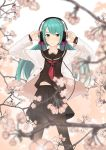 1girl arms_up couzone green_eyes green_hair hatsune_miku headphones highres long_hair pantyhose school_uniform serafuku skirt solo twintails vocaloid