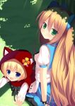 2girls alice_(wonderland) alice_in_wonderland blonde_hair blue_eyes blush bow crossover dress glass green_eyes hair_bow hood little_red_riding_hood_(grimm) long_hair looking_at_viewer megarisu multiple_girls original short_hair