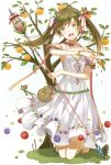 1girl brown_hair dress flower food fruit long_hair open_mouth orange original sandals solo staff tree twintails yellow_eyes