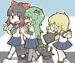3girls adomi black_hair blonde_hair bow braid cat chen chen_(cat) frog_hair_ornament green_hair hair_bow hair_ornament hair_ribbon hair_tubes hakurei_reimu kirisame_marisa kochiya_sanae multiple_girls pantyhose pleated_skirt ribbon school_uniform serafuku skirt snake_hair_ornament touhou