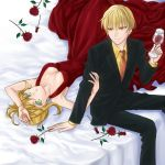 1boy 1girl auoyoi blonde_hair breasts cleavage cup dress fate/extra fate/stay_night fate_(series) flower formal gilgamesh green_eyes hair_ribbon jewelry necklace necktie on_bed red_dress red_eyes red_rose ribbon rose saber_extra suit wine wine_glass