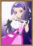 1girl dokidoki!_precure dress flower gloves hair_ornament headset highres kenzaki_makoto picture_frame precure purple_hair short_hair smile_(rz) solo violet_eyes