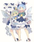 2girls animal_costume animal_ears animal_print black_bow black_dress bloomers blue_eyes blue_hair blue_neckwear blush_stickers bottle bow bowtie chinese_zodiac cirno commentary cow_costume cow_ears cow_hood cow_horns cow_print daiyousei detached_wings dress fairy_wings full_body green_eyes green_hair green_neckwear highres hood hood_up horns ice ice_wings long_hair looking_at_viewer milk_bottle multiple_girls neck_bell nikorashi-ka short_hair simple_background slippers smile symbol_commentary touhou underwear white_background white_dress wings year_of_the_ox yellow_bow