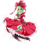 1girl boots bow frills front_ponytail green_eyes green_hair hair_bow hair_ribbon kagiyama_hina knbilove open_mouth ribbon simple_background skirt skirt_lift smile solo touhou wrist_ribbon