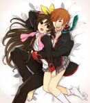 2boys brown_eyes brown_hair closed_eyes dress_shirt highres hug jamijami little_busters! long_hair multiple_boys naoe_riki natsume_kyousuke necktie school_uniform shirt short_hair trap yaoi