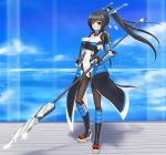 1girl armor black_hair black_legwear bodysuit boots bow breasts cleavage clouds fingerless_gloves gloves highres honda_futayo kyoukai_senjou_no_horizon large_breasts long_hair pantyhose polearm ponytail rasukaru sky solo spear violet_eyes weapon