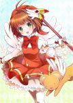 1girl brown_hair cardcaptor_sakura dress fuuin_no_tsue gloves green_eyes hat kero kinomoto_sakura magical_girl nekosugiayana short_hair thigh-highs wand wings