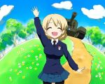 blue_sky braid closed_eyes darjeeling flower girls_und_panzer grass lowres open_mouth pantyhose parody school_uniform sky smile tree waving yuru_yuri