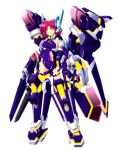1girl armor bodysuit chouzetsu_yarou crueltear headgear mecha_musume pink_eyes purple_hair tagme trigger_heart_exelica