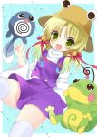 1girl bell blonde_hair crossover green_eyes hat jingle_bell kokorominton long_hair moriya_suwako open_mouth payot pokemon pokemon_(creature) politoed poliwag skirt skirt_set thigh-highs touhou white_legwear