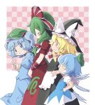 4girls arm_ribbon blonde_hair blue_eyes blue_hair bow braid cirno clenched_teeth closed_eyes dress front_ponytail green_hair hair_bobbles hair_bow hair_ornament hair_ribbon hands_on_hips hat hat_ribbon kagiyama_hina kawashiro_nitori key kirisame_marisa long_hair long_sleeves momoego multiple_girls open_mouth ribbon shirt short_dress short_sleeves single_braid skirt smile teeth touhou twintails v v_arms wings yellow_eyes