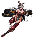 animal_ears armor breasts bunny_girl cleavage gun highres long_hair lucknight mecha_musume original rabbit_ears red_eyes silver_hair thigh-highs very_long_hair weapon