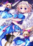 1girl alice_margatroid between_breasts black_legwear blonde_hair blue_dress blue_eyes breast_hold breasts cape capelet dress frills garter_straps hair_ribbon hairband highres long_hair polearm ribbon shanghai_doll short_hair smile solo soulhunter_en spear sword thigh-highs touhou weapon wrist_cuffs