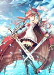 1girl absurdres airship black_legwear breasts cape cleavage clouds daizo dress dual_wielding epaulettes flower flower_on_head gauntlets greaves headgear highres pink_eyes pink_hair sky strapless_dress sword tagme thigh-highs twintails weapon zettai_ryouiki