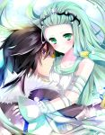 1boy 1girl black_hair blush circlet couple green_eyes green_hair hair_tubes hetero highres hisui_hearts hug long_hair richea_spodune smile sumomo_(peach-breath) tales_of_(series) tales_of_hearts violet_eyes wrist_cuffs