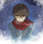 1boy ahoge breath brown_eyes brown_hair commentary hair_between_eyes hatoful_kareshi jacket looking_at_viewer male moa810 official_art scarf sky snow snowing solo spoilers uzune_hitori winter