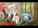 2girls animal_ears backpack bag blue_eyes blue_hair gun hair_bobbles hair_ornament hat highres icegray insect inubashiri_momiji kawashiro_nitori multiple_girls red_eyes rifle short_hair tokin_hat touhou tree weapon window