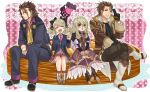 2boys 2girls alvin_(tales_of_xillia) beard blazer blonde_hair boots bow brown_eyes brown_hair closed_eyes cropped_jacket crossed_legs dress dual_persona elise_lutus facial_hair food formal frills green_eyes hair_bow jewelry multiple_boys multiple_girls necktie otsuki38 pants pendant pie pink_background ribbon school_uniform shoes short_hair sitting skirt smile suit symmetry tales_of_(series) tales_of_xillia tales_of_xillia_2 tipo_(xillia) twintails v wink