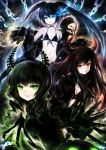 bikini black_gold_saw black_hair black_rock_shooter black_rock_shooter_(character) blue_eyes curled_hair dead_master dress frown gloves glowing glowing_eye green_eyes horns koumakan-maid long_hair navel parted_lips red_eyes smile strength_(black_rock_shooter) swimsuit twintails white_hair yellow_eyes