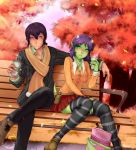 1boy 1girl ahoge anime_flux autumn belt bench blush breasts brown_hair cardigan coffee couple green_eyes green_skin hetero horns knees_together_feet_apart miniskirt original paper_cup purple_hair scarf sitting skirt striped striped_legwear tail tail_ornament thigh-highs violet_eyes