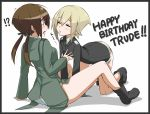 !? 2girls all_fours blonde_hair blush boots breasts brown_eyes brown_hair character_name closed_eyes embarrassed english erica_hartmann gertrud_barkhorn happy_birthday incipient_kiss long_sleeves military military_uniform multiple_girls nacl panties short_hair sitting strike_witches trembling underwear uniform
