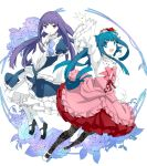 2girls blue_eyes blue_hair bow dress finger_to_mouth floral_print flower frederica_bernkastel furudo_erika hair_flower hair_ornament long_sleeves mary_janes multiple_girls open_mouth pantyhose rapizuri rose shoes smirk twintails umineko_no_naku_koro_ni violet_eyes waving white_legwear