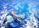 1girl biiji bubble dolphin long_hair pixiv_fantasia pixiv_fantasia_new_world red_eyes underwater whale white_hair