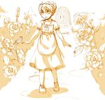 1boy alice_(wonderland) alice_(wonderland)_(cosplay) alice_in_wonderland apron cosplay cr72 crossdressing dress flower inazuma_eleven_(series) inazuma_eleven_go male matsukaze_tenma monochrome open_mouth short_hair sketch solo