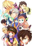 5boys 5girls alvin_(tales_of_xillia) aqua_hair beret black_hair blonde_hair blue_eyes brown_eyes brown_hair cabbie_hat cat doll elise_lutus elle_mel_martha everyone gaias glasses green_eyes hat jude_mathis kabone_(yohei_otome) leia_roland long_hair ludger_will_kresnik lulu_(tales_of_xillia_2) milla_maxwell multicolored_hair multiple_boys multiple_girls muse_(tales_of_xillia) necktie pointy_ears red_eyes rowen_j._ilbert short_hair smile tales_of_(series) tales_of_xillia tales_of_xillia_2 tipo_(xillia) twintains two-tone_hair white_background white_hair wink x_x yellow_eyes