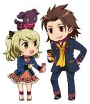 1boy 1girl alvin_(tales_of_xillia) blazer blonde_hair bow brown_eyes brown_hair cellphone chibi doll elise_lutus formal green_eyes hair_bow hand_on_hip micha_(chaho) necktie pants phone school_uniform shoes short_hair skirt smile suit tales_of_(series) tales_of_xillia tales_of_xillia_2 tipo_(xillia) twintails white_background