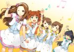 black_hair brown_eyes brown_hair futami_ami futami_mami ganaha_hibiki green_eyes idolmaster long_hair minase_iori musical_note ponytail siblings side_ponytail smile takatsuki_yayoi twins twintails unya_(unya-unya) wink wristband