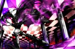 1girl asymmetrical_hair black_hair black_rock_shooter chain checkered greaves hair_ornament highres insane_black_rock_shooter long_hair navel open_mouth pale_skin solo stitches twintails violet_eyes