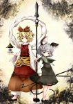 2girls animal_ears black_hair blonde_hair cocozasa dowsing_rod dress grey_hair highres jeweled_pagoda mouse_ears mouse_tail multicolored_hair multiple_girls nazrin polearm red_eyes shawl short_hair spear tail toramaru_shou touhou two-tone_hair weapon yellow_eyes