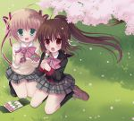 2girls blonde_hair brown_hair cherry_blossoms dango eating food green_eyes hair_ribbon kamikita_komari little_busters! long_hair mana_(10221125) multiple_girls natsume_rin ponytail red_eyes ribbon school_uniform short_hair tea thermos twintails wagashi