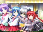 4girls ahoge bag blue_eyes blue_hair charm_(object) cthugha_(nyaruko-san) green_eyes hair_ribbon haiyore!_nyaruko-san hiiragi_kagami izumi_konata keroro long_hair lucky_star multiple_girls nintendo_3ds nyamou nyarlathotep_(nyaruko-san) purple_hair red_eyes redhead ribbon school_uniform silver_hair skirt twintails yuri