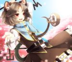 1girl animal_ears basket belt blue_sky capelet cherry_blossoms dowsing_rod gem grey_hair jewelry long_sleeves mouse mouse_ears mouse_tail nazrin necklace open_mouth pendant red_eyes sayuma shirt skirt skirt_set sky smile solo tail touhou tree