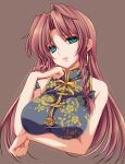 1girl aqua_eyes braid brown_background chinese_clothes earrings highres hong_meiling jewelry long_hair looking_at_viewer moneti_(daifuku) no_hat no_headwear redhead simple_background solo touhou twin_braids