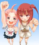 2girls absurdres bare_legs barefoot blush crossover dress fist_pump highres kuzuryuu_momoko magi_the_labyrinth_of_magic morgiana multiple_girls pink_hair redhead school_uniform serafuku short_hair sumomomo_momomo