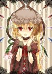 1girl alternate_costume blonde_hair choker dress flandre_scarlet flower hands_on_own_face irotani_asuka red_eyes smile solo touhou wings wrist_cuffs