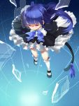 1girl blue_hair blurry cat_tail dress frederica_bernkastel long_hair maon_(hikouya) red_eyes ribbon solo tail umineko_no_naku_koro_ni